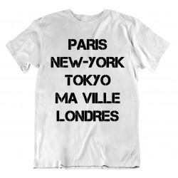 T-shirt Paris New York Personnalisable avec nom de ville - homme cadeau