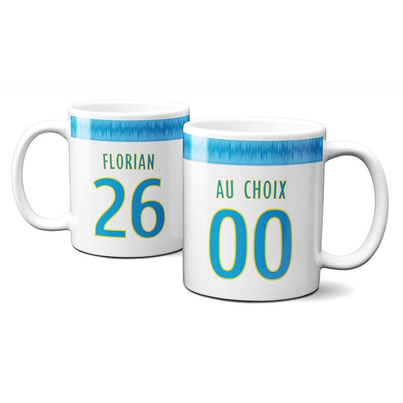 Mug Foot Marseille avec nom et numéro au choix - Tasse en céramique café personnalisable
