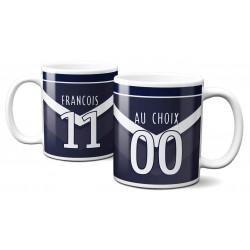 Mug Foot Bordeaux avec nom et numéro au choix - Tasse en céramique café personnalisabl