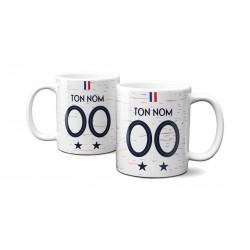 Mug Foot France v2 avec nom et numéro au choix - Tasse en céramique café personnalisabl