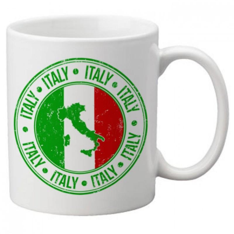 Mug CARTE D'ITALIE AVEC DRAPEAU  - Tasse en céramique café