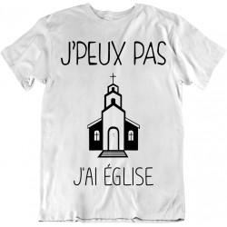 T-shirt j'peux pas j'ai église - cadeau homme main