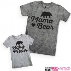 T-shirt Queen femme adulte et tshirt enfant assorti Mama Bear et Baby Bear