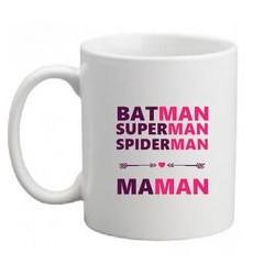 Mug Batman Superman Spiderman MAMAN - Tasse