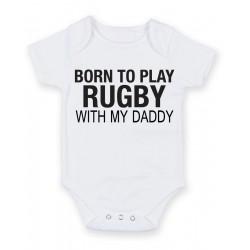Body bébé Born To Play Rugby avec My Daddy  Cadeau idéal pour Noël, Anniversaire, baptême, cadeau de fête
