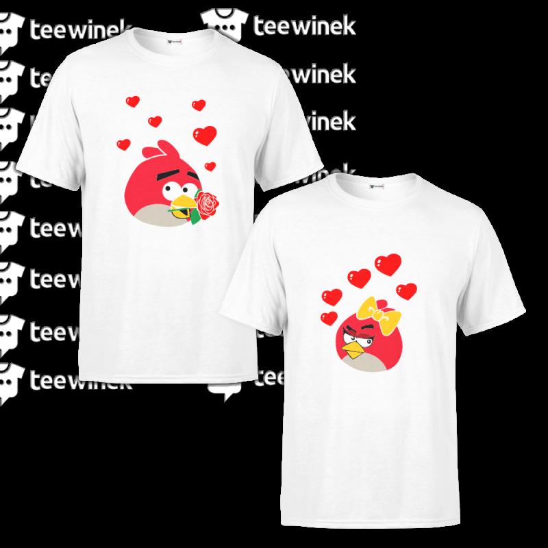 T-Shirt Couple Angry Birds - Cadeau duo