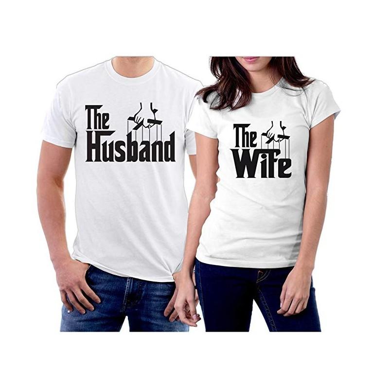 T-Shirt Couple The Husband et The wife inspiré du Parrain Cadeau duo amoureux