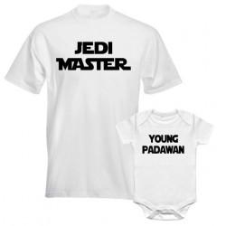 Ensemble père et fils star wars drôle Tshirt homme Jedi avec body bébé padawan