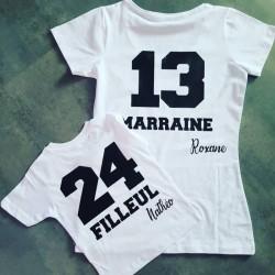 T-shirt Marraine / Filleul Ensemble Cadeau avec prénom personnalisable