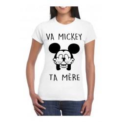 Tee-shirt va mickey ta mère femme col rond manches courtes