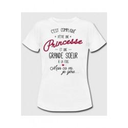 Tee-shirt c'est compliqué d'être une princesse et une grande soeur