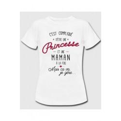 Tee-shirt c'est compliqué d'être une princesse et maman à la fois - Cadeau mère