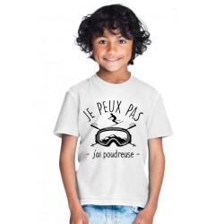 T-shirt Je peux pas j'ai poudreuse - Cadeau enfant skieur