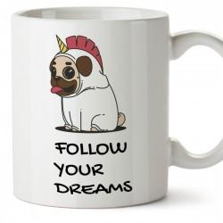 Mug Follow Your Dreams Chien x Licorne - Tasse de café – Idée Cadeau / tasse