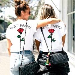 T-Shirt assorti Meilleure Amie - Best Friends fleur rose dans le dos