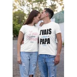 T-Shirt Couple assorti Cadeau de naissance pour futurs parents