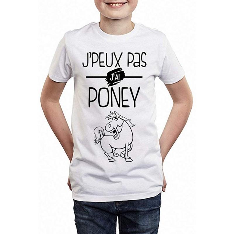 T-shirt Je peux pas j'ai poney - Cadeau enfant