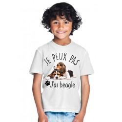 T-shirt Je peux pas j'ai beagle - Cadeau enfant qui aime les chiens