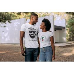 T-Shirt Couple assorti avec homme barbe qui pique - Cadeau saint valentin duo