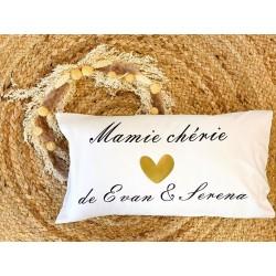 Coussin rectangle Mamie chérie - Texte prénom à personnaliser