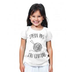 T-shirt Je peux pas j'ai couture - Cadeau enfant qui aime la laine