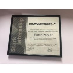 Cadre Certificat de stage Stark industry avec prénom personnalisable