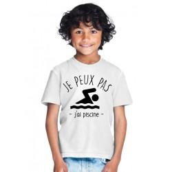 T-shirt Je peux pas j'ai piscine - Cadeau enfant qui aime la natation
