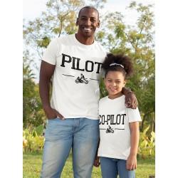 T-shirt Homme assorti avec tshirt Enfant Copilote et Pilote Moto