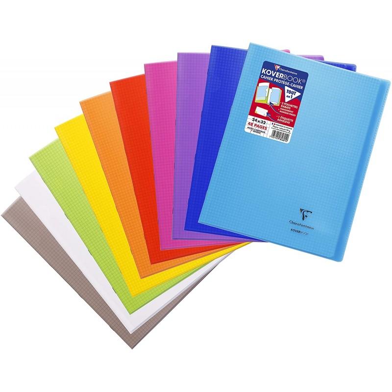 Cahier piqué avec protège 24x32cm 96 pages grands carreaux couverture polypropylène