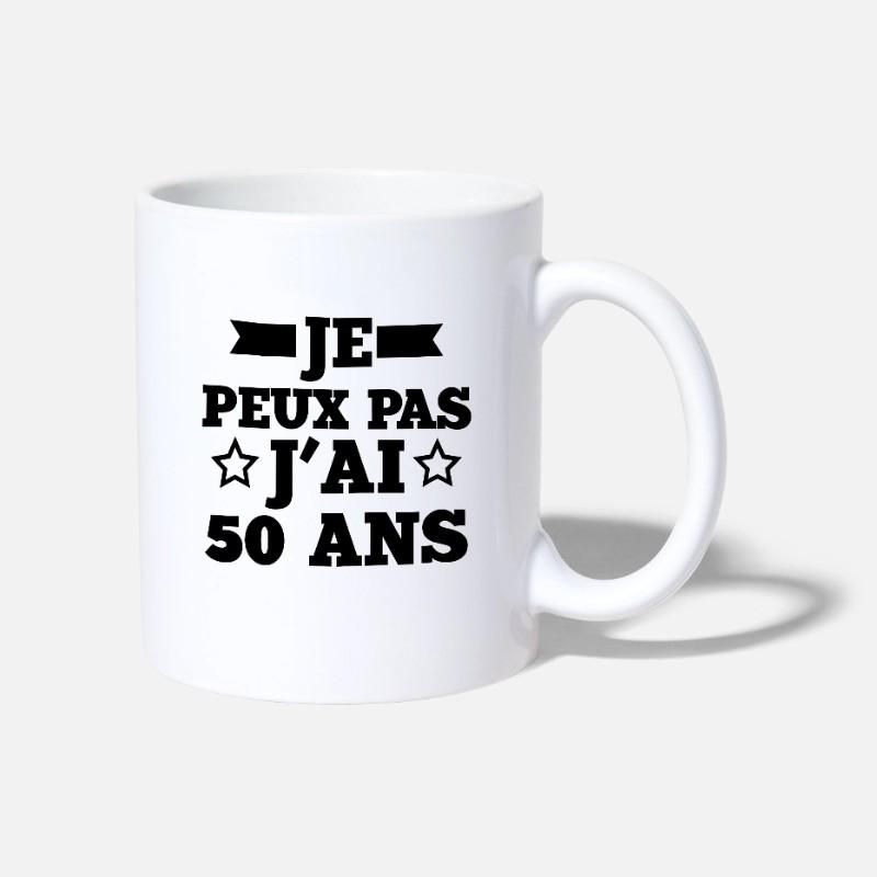 Mug j'peux pas j'ai 50 ans - Tasse personnalisable anniversaire