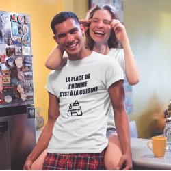 T-shirt la place de l'homme c'est à la cuisine