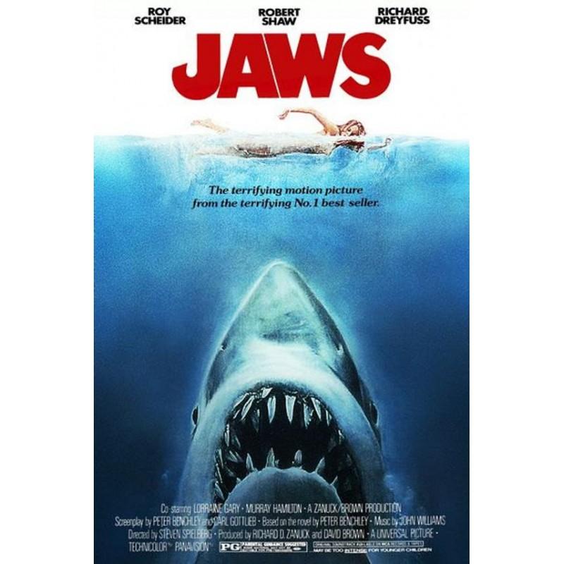 Affiche Jaws -  Poster avec cadre tableau dents de la mer