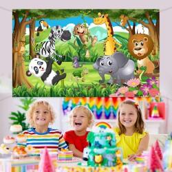 Poster thème Jungle fête d'anniversaire Photo Fond pour Enfants - Affiche décoration