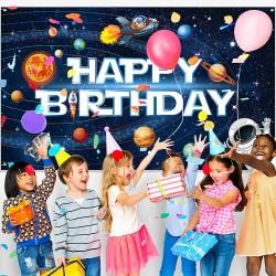 Poster thème Galaxie espace fête d'anniversaire Photo Fond pour Enfants - Affiche décoration