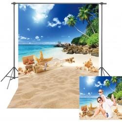Toile de fond d'été pour photographie avec plage tropicale et île hawaïenne, palmiers pour enfants, portrait, décorations
