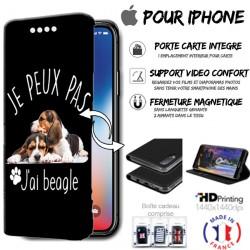 Housse portefeuille j'peux pas j'ai beagle iPhone - étui Apple