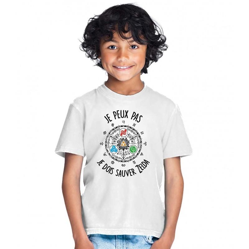 T-shirt Je peux pas je dois sauver Zelda - Cadeau enfant Gamer