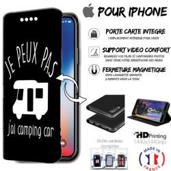 Housse portefeuille j'peux pas j'ai camping car iPhone - étui Apple
