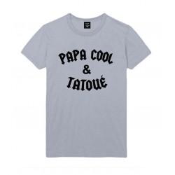 T-Shirt Papa cool et tatoué - Adulte et enfant GRIS