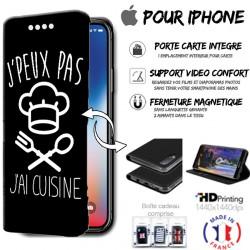Housse portefeuille j'peux pas j'ai cuisine iPhone - étui Apple