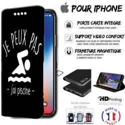 Housse portefeuille j'peux pas j'ai piscine iPhone - étui Apple