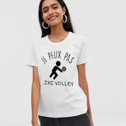 T-Shirt j'peux pas j'ai volley ball - Femme Cadeau sportive