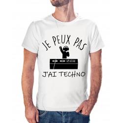 T-shirt j'peux pas j'ai Techno - cadeau homme musique DJ