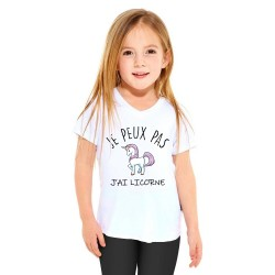 T-shirt Je peux pas j'ai licorne - Cadeau enfant fille et garçon