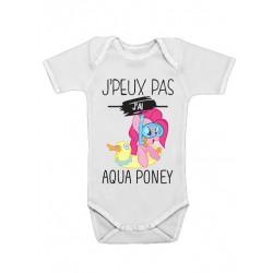 Body bébé J'peux pas j'ai aqua poney