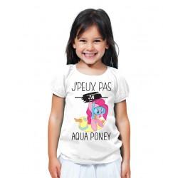 T-shirt Je peux pas j'ai aqua poney - Cadeau enfant fille et garçon