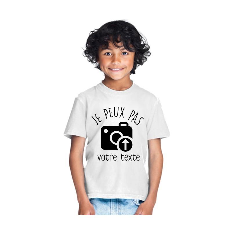 T-shirt Je peux pas j'ai à personnaliser avec Photos et textes - Cadeau enfant drôle et marrant