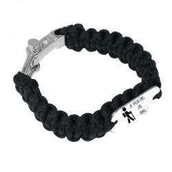 Bracelet Je peux pas j'ai trail noir tressé