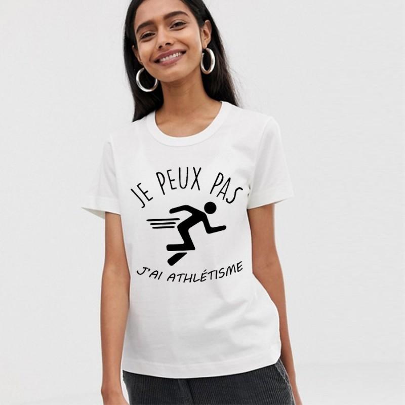 T-Shirt j'peux pas j'ai athlétisme- Femme Athlète