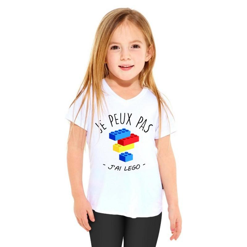 T-shirt Je peux pas j'ai légo - Cadeau enfant fille et garçon